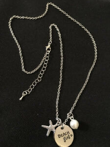 Necklace With Hand Stamped Pendant & Charms - Beach Girl