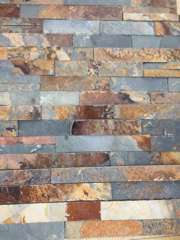 Laura Ashley Tiles >> Split face multi colour Rusty slate natural stone wall