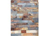 Split face multi colour Rusty slate natural stone wall tiles.