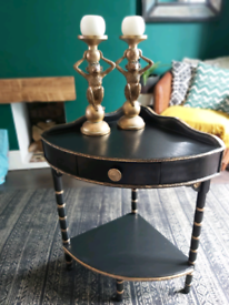 black and gold wood corner table unit with draw
