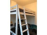 Wooden Ikea stora double loft bed white