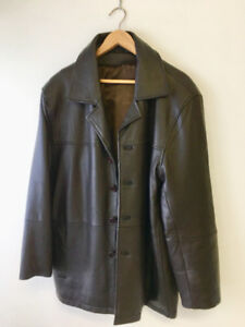 Men's Brown 44-46 tall Leather Coat