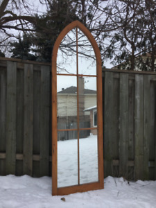 ANTIQUE church window paned MIRROR ~ unique and beautiful