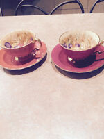 Aynsley Cups and Saucers light brown & red with fruit in cup