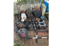 Gym equipment, Dumbbells, weights, cast iron, bars, bench