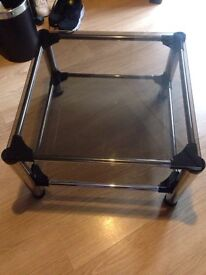 Glass black and chrome coffee table