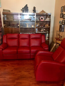 Red leather  Set Recliner couch and Rocking Chair
