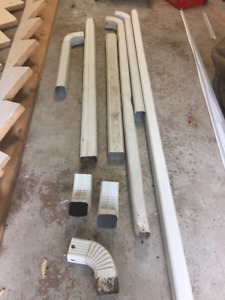 """For Sale:  28 feet Used 2""""x3"""" Aluminum Downspout, Elbows (White)"""