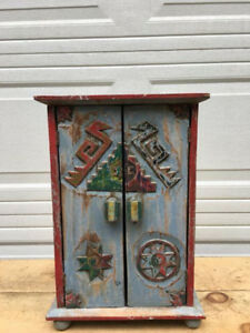 LOVELY PRIMITIVE FOLK ART APOTHECARY CABINET IN OLD PAINT