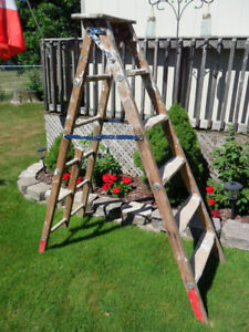 Tall Wooden Vintage  Painters Ladder
