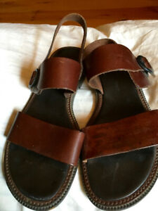 $10 GH Bass & Co Flat Sling-back Sandals, Brown Leather, 7.5M