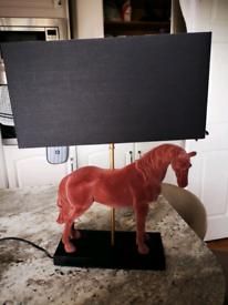 Bespoke horse lamp with gold interior shade