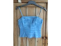 Pale blue tulle strap top