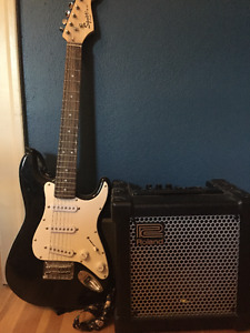"Fender Squire Guitar and Roland Cube 15"" Amp"