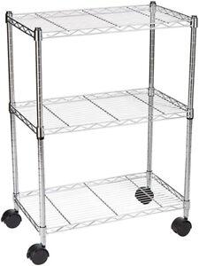 3-Shelf Shelving Unit on Wheels - Chrome (brand new in box)