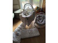 Baby Moses basket, mobile, bouncy chair, sleep sac, fleece blanket, cot duvet and bumper, plus more