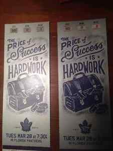 Leafs vs Panthers - March 28 - Centre Ice Purple Section 322