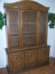 Large vintage 2 piece China cabinet with storage at bottom. Only