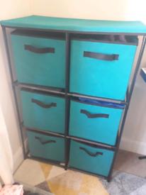6 Box Storage Unit in Light Teal