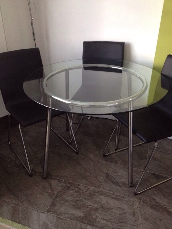 Ikea salmi glass round table in bournemouth dorset gumtree - Round glass dining table ikea ...