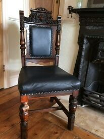 Vintage Antique Gothic Jacobean Hall Chairs, Occasional, Dining