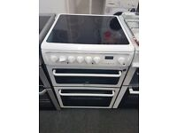 HOTPOINT CREDA 60CM CEROMIC TOP ELECTRIC COOKER IN WHITE. H