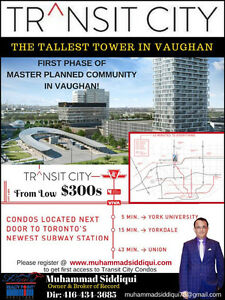 Transit City Condos in Vaughan Price from Low $300
