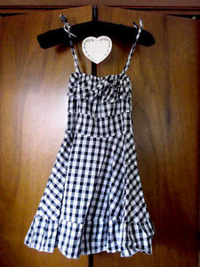 womens XS/girls L black and white gingham sun dress