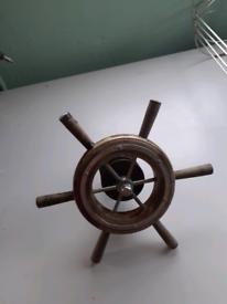 Wood boat steering wheel.