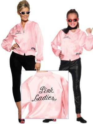 Womens Girls Pink Ladies Jacket 1950s 50s Grease Adult Child Fancy Dress - Grease Pink Ladies Jacket Kids