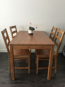 IKEA:Dining table and 4 chairs
