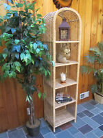 Wicker Display Stand and Mirror