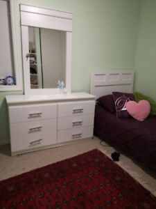 Single bed with mattress and makeup table