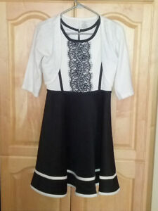 Girls Black/White Dress **Size Large-14** Only worn once!!