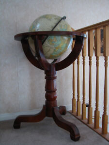 The world globe with floor stand.