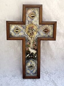 Antique French Cross Reliquary 19th Ex Voto Holy Art Populaire Folk Art