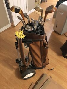 Assorted Clubs with Bag and Pull Cart (LH)