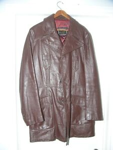 3/4 length brown leather top coat