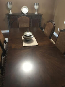 Solid Wood Dinning Room Set, 6 Chairs and Server