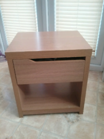 Light oak bedside cabinet with draw