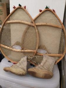raquettes et bottes en peau de loup marin amérindiennes