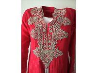 Asian women heavy anarkali churidar kameez suit outfit shalwar