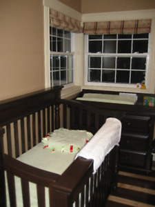 Solid Dark Wood Crib and Change Table Set