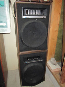 Pair of Older Large and Medium Size Floor Speakers