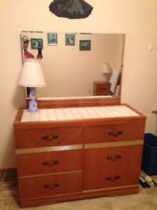dresser/mirror and nightstand