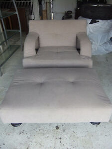 large comfy chair and ottoman in good cond, beige fabric