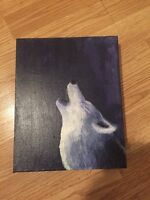 Small wolf painting