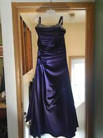 Purple Bridesmaid Dress with Crystal at top
