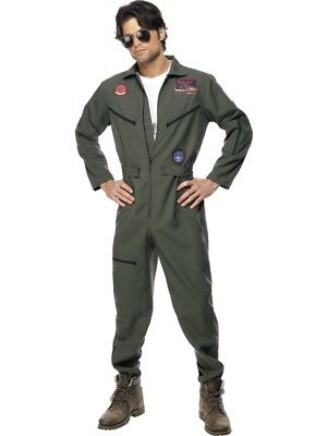 Smi - Karneval Herren Kostüm Top Gun Overall grün Anzug aus Film