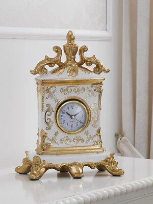 Tischuhr Charles Blumendekoration Queen elfenbein und Blattgold ()